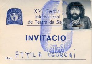 Rockszinház Turné Spanyolország1984 Sitges fesztivál belépőkártya